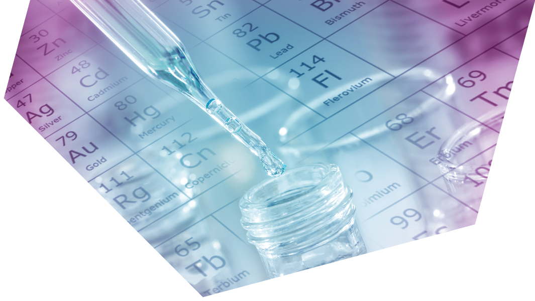 test tubes with periodic table background